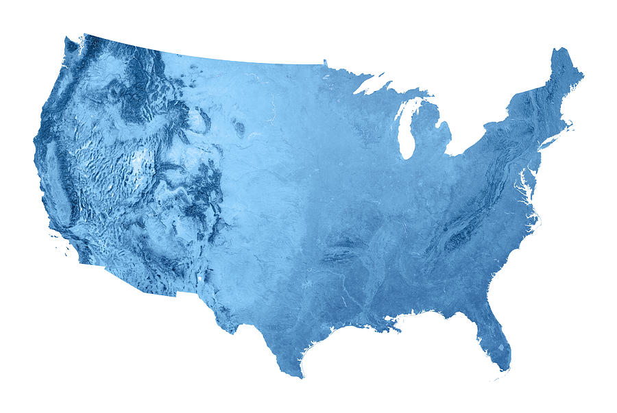 Usa Topographic Map Isolated Photograph by FrankRamspott