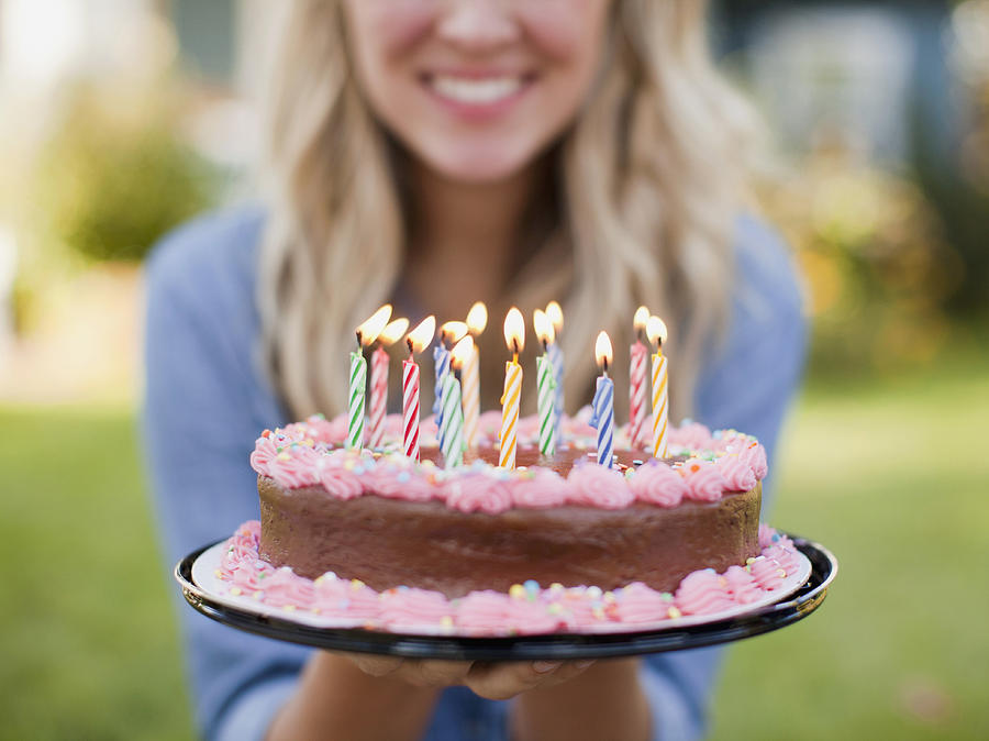 Fabulous Usa Utah Provo Mid Section Of Young Woman Holding Birthday Cake Funny Birthday Cards Online Overcheapnameinfo