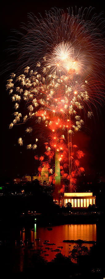 Vertical Photograph - Usa, Washington Dc, Fireworks by Panoramic Images