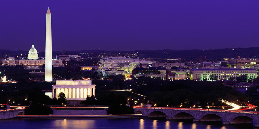 Usa, Washington D.c., Skyline At Night Photograph by Jerry Driendl