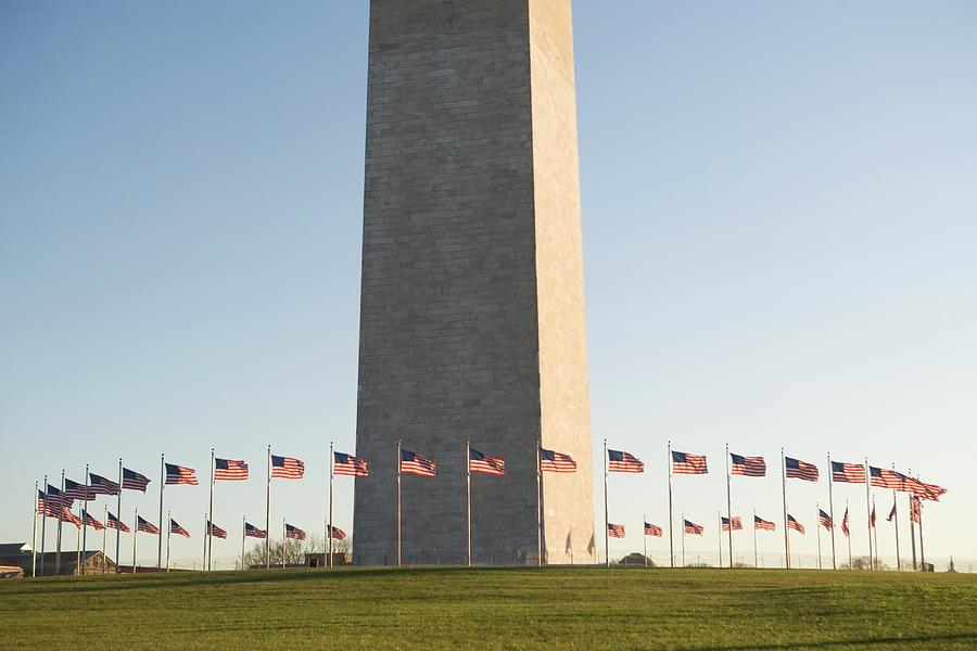 Wall decor Washington Monument American Flags Print Fine Art Obelisk DC decor DC Patriotic Washington DC Photograph