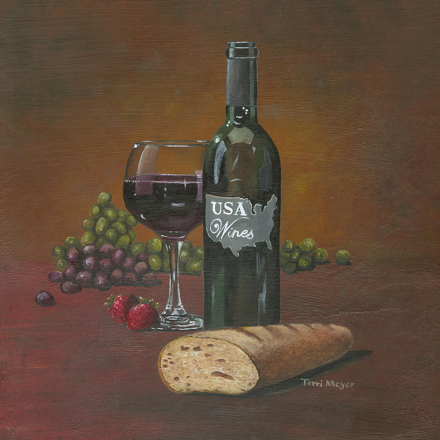 Usa Wine Painting by Terri  Meyer