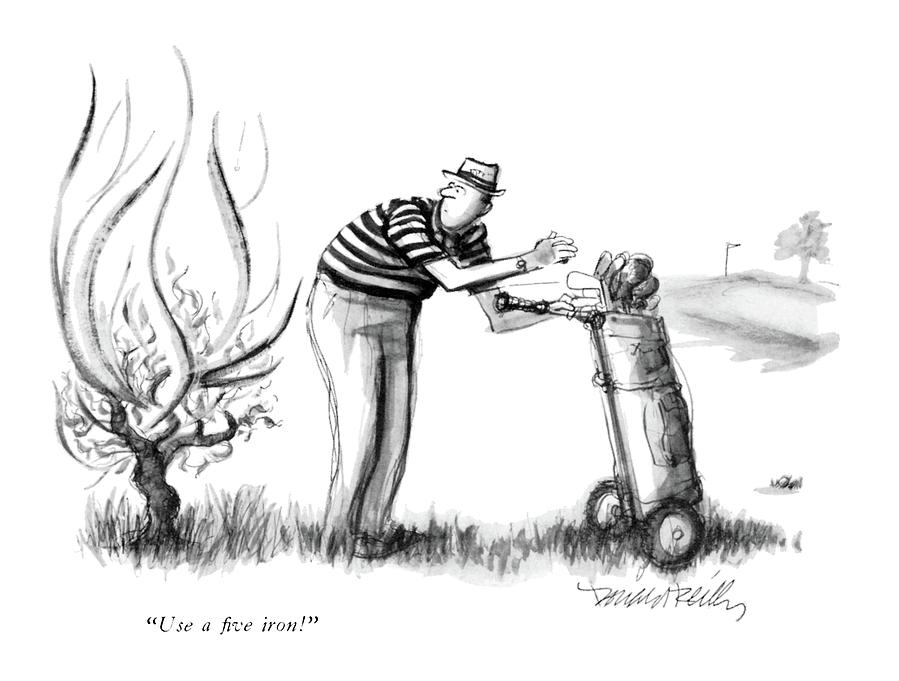 Use A Five Iron! Drawing by Donald Reilly