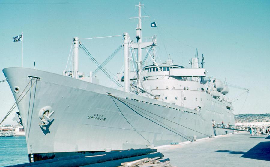 Troop Transport Photograph - USNS Upshur Rota Spain 1961 by Cumberland Warden