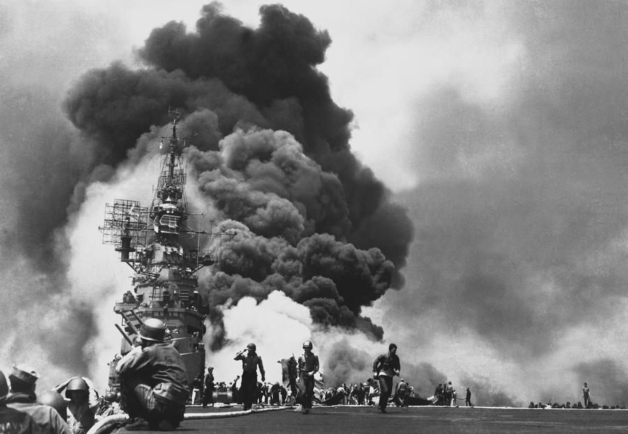 Uss Bunker Hill Photograph - Uss Bunker Hill Kamikaze Attack  by War Is Hell Store