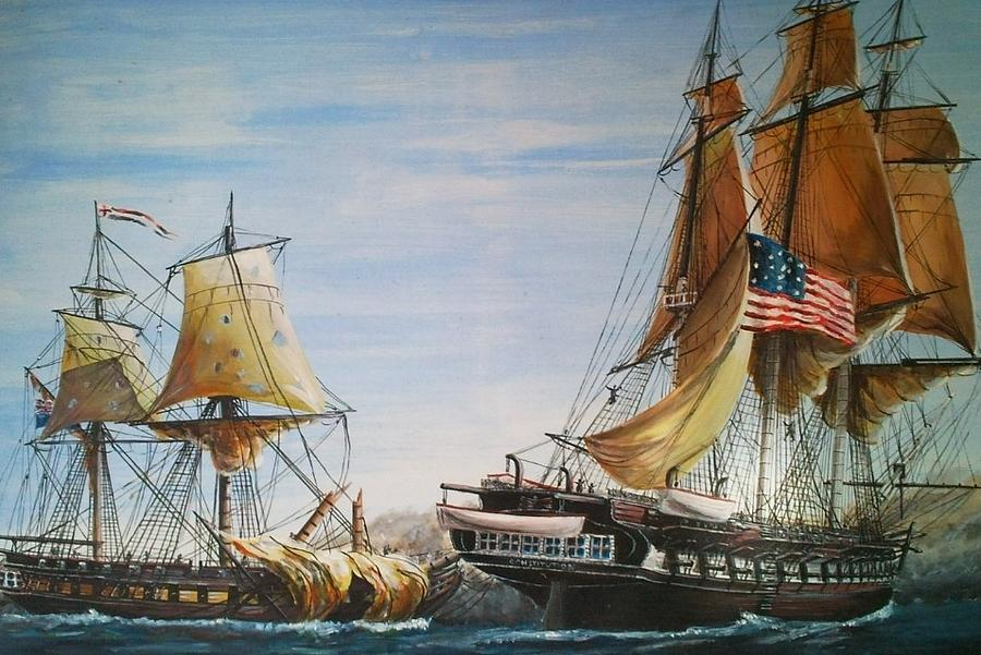 Uss Constitution And Hms Guerriere 1812 Painting byUss Constitution 1812