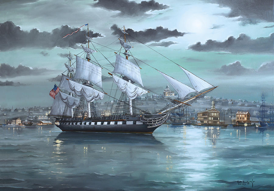 Uss Constitution In Boston Harbor 1812 Painting by ScottUss Constitution 1812