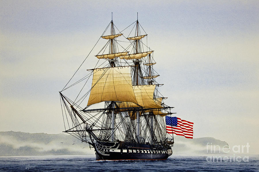 Tall Ship Painting - Uss Constitution by James Williamson
