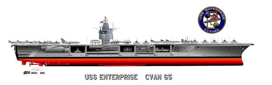 Uss Enterprise Cvn 65 1969 Digital Art By George Bieda