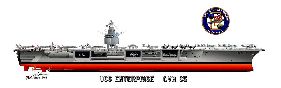 Uss Enterprise Cvn 65 1975-81 Drawing Digital Art - Uss Enterprise Cvn 65 1975- 1981 by George Bieda