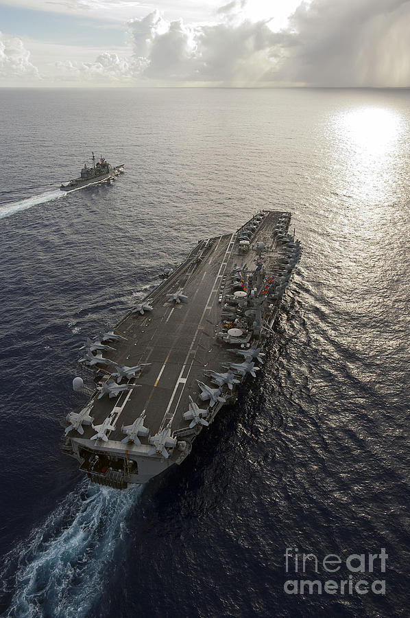Uss George Washington Photograph - Uss George Washington And Uss Mobile by Stocktrek Images