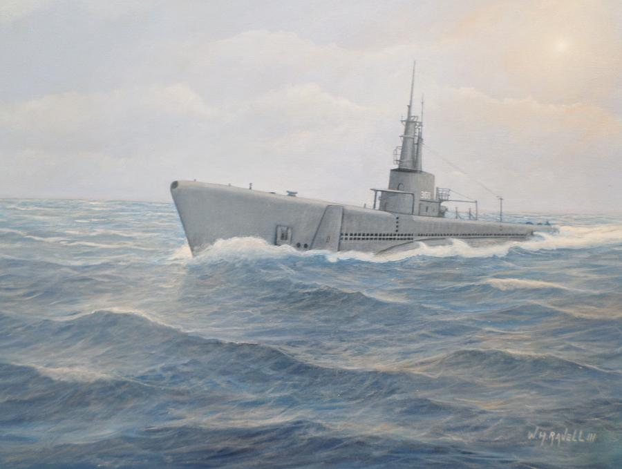 Submarines Painting - USS Jallao  by William Ravell