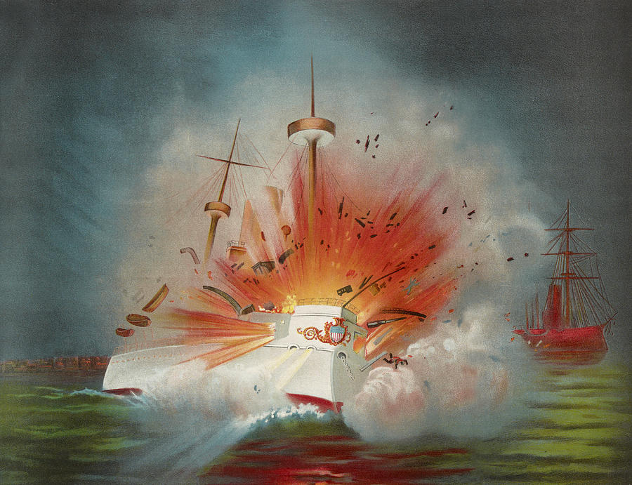 Battleship Painting - Uss Maine Circa 1898  by Aged Pixel
