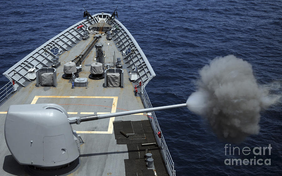 Horizontal Photograph - Uss Philippine Sea Fires Its Mk 45 by Stocktrek Images