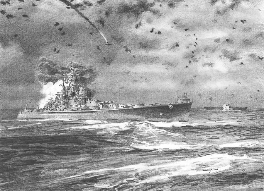 USS south dakota battle santa cruz pencil drawing Drawing by Mike Theuer