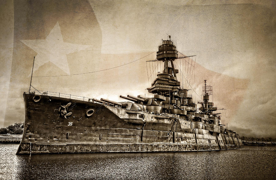 Battleship Photograph - U.S.S. Texas by Ken Smith