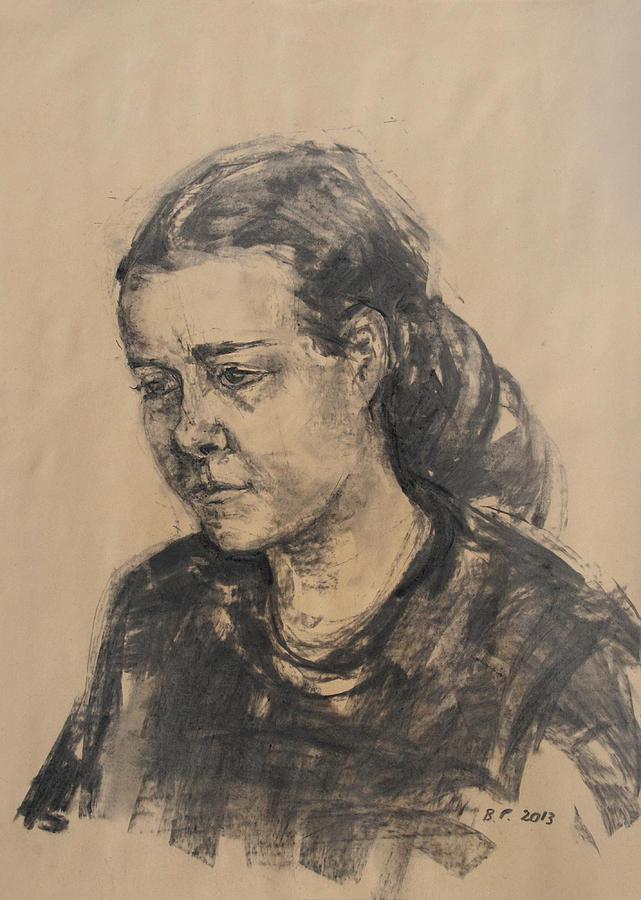 Girl Drawing - Uta by Barbara Pommerenke