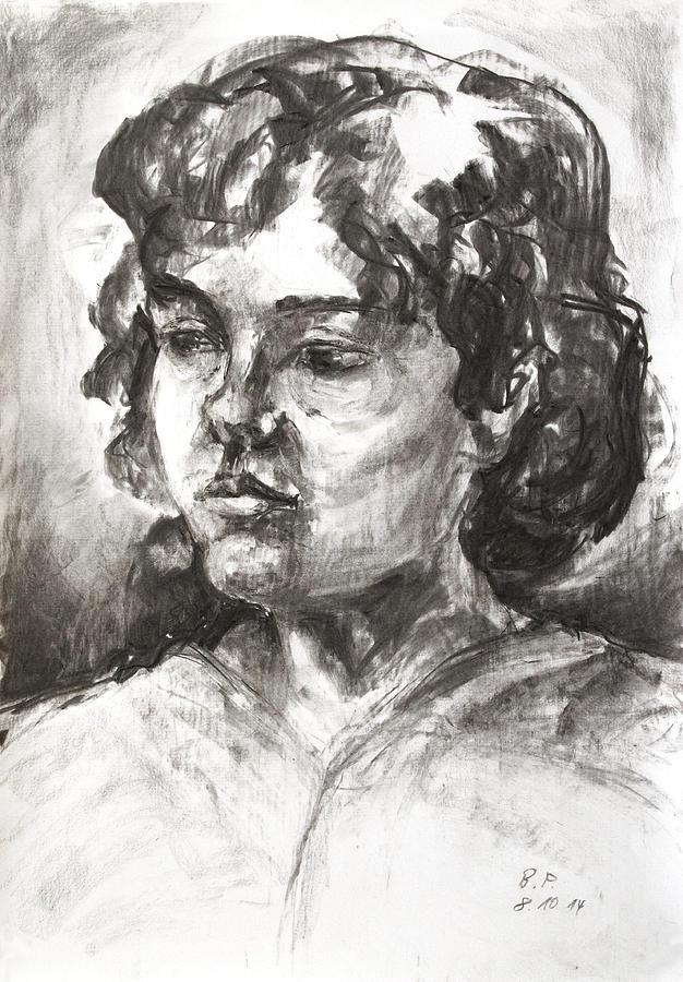 Girl Drawing - Uta With Short Hair by Barbara Pommerenke