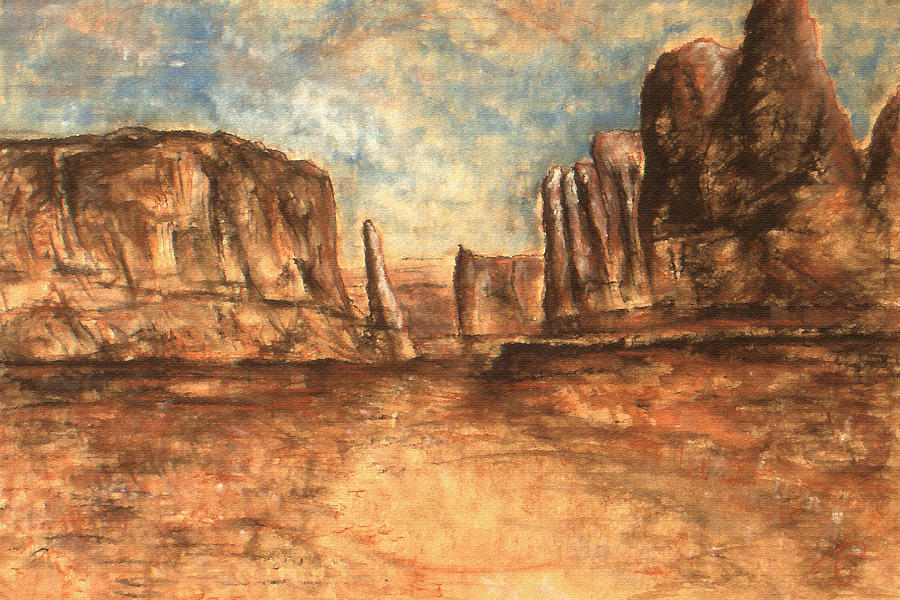 Utah Red Rocks - Landscape Art Painting by Peter Potter
