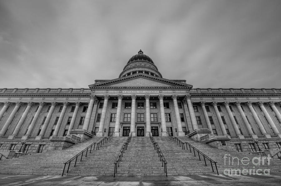 Hdr Photograph - Utah State Capitol Building Bw by Michael Ver Sprill