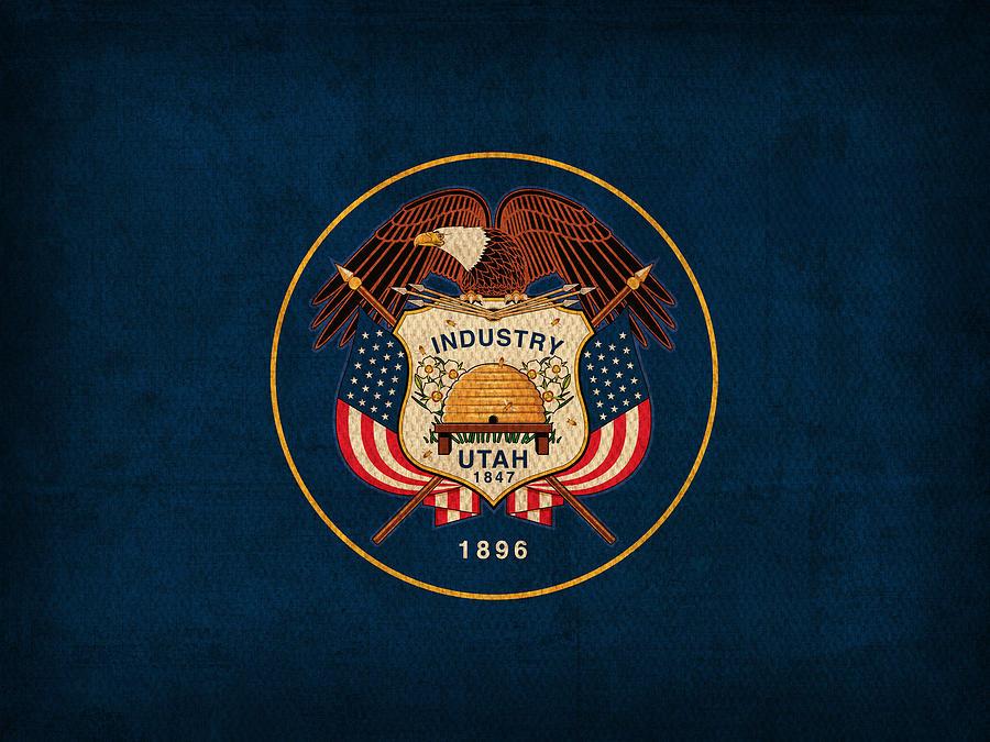 Utah State Flag Art On Worn Canvas Mixed Media - Utah State Flag Art On Worn Canvas by Design Turnpike
