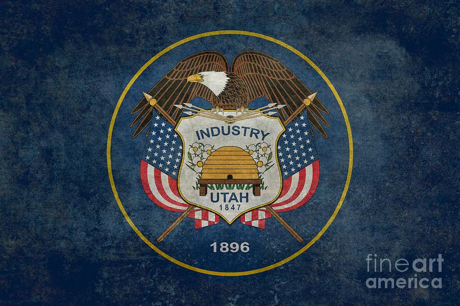 Utah State Flag Vintage Version Digital Art