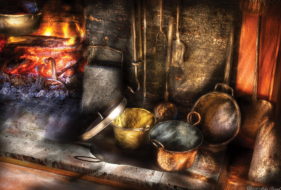 Chef Photograph - Utensils - Colonial Kitchen by Mike Savad