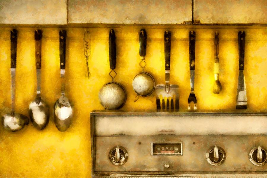 Chef Digital Art - Utensils - The Kitchen  by Mike Savad