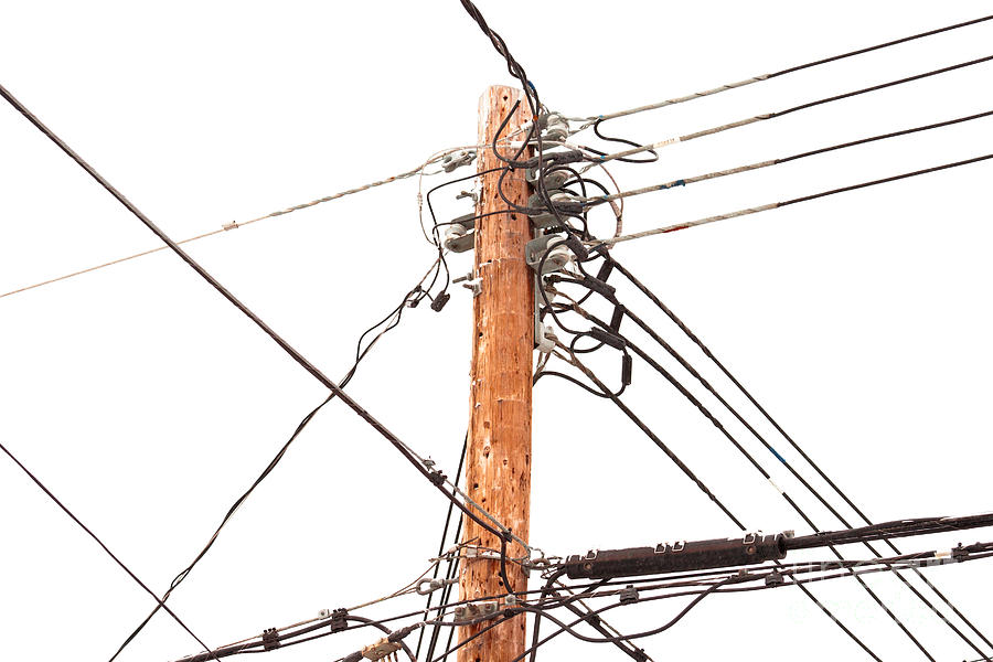 Cable Photograph - Utility Pole Hung With Electricity Power Cables by Stephan Pietzko