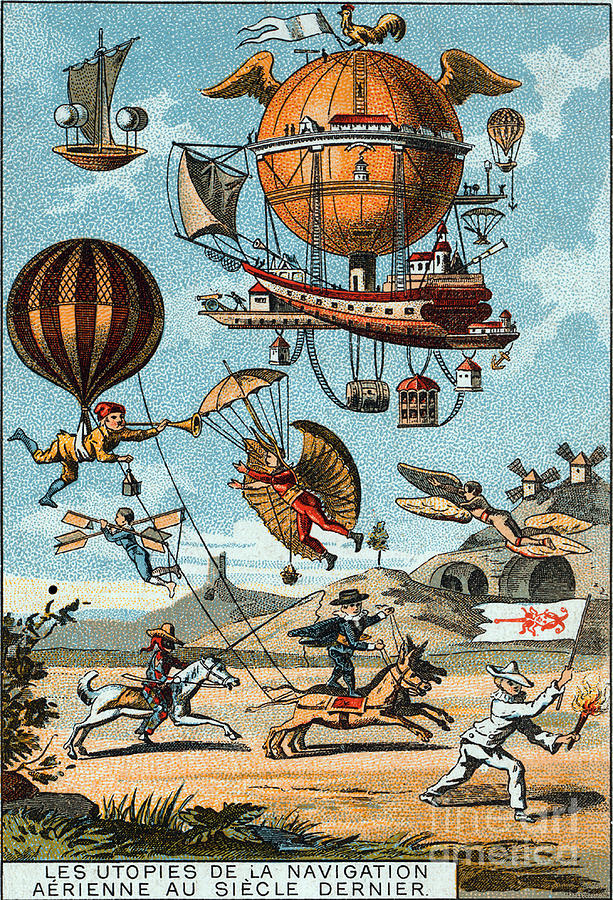 Technology Photograph - Utopian Flying Machines 19th Century by Science Source