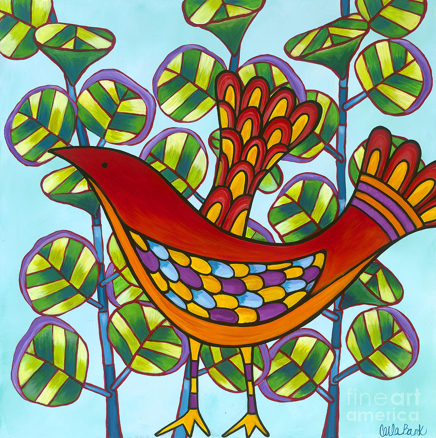 Red Bird Painting - Uva De Mar by Carla Bank