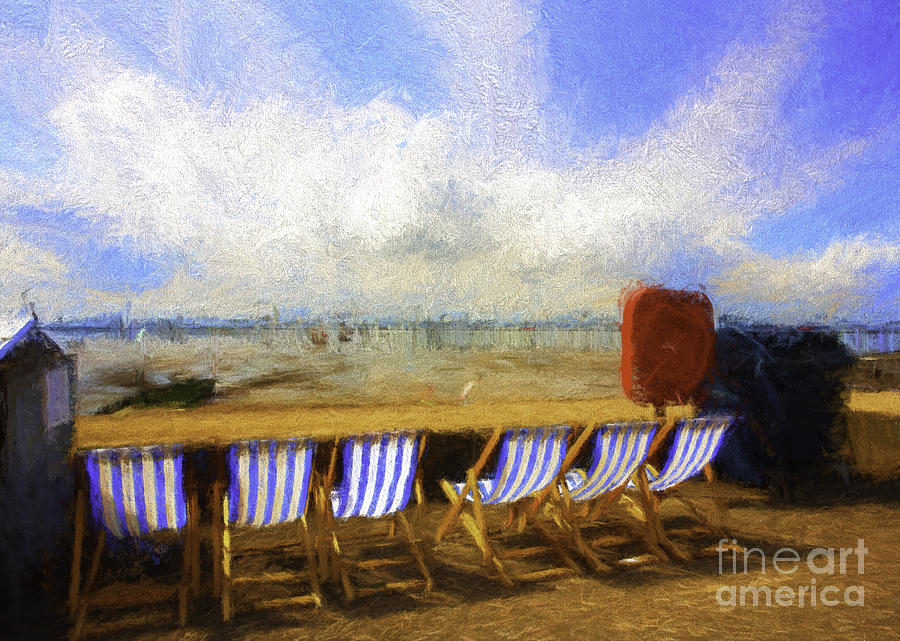 Clouds Photograph - Vacant deckchairs  by Sheila Smart Fine Art Photography