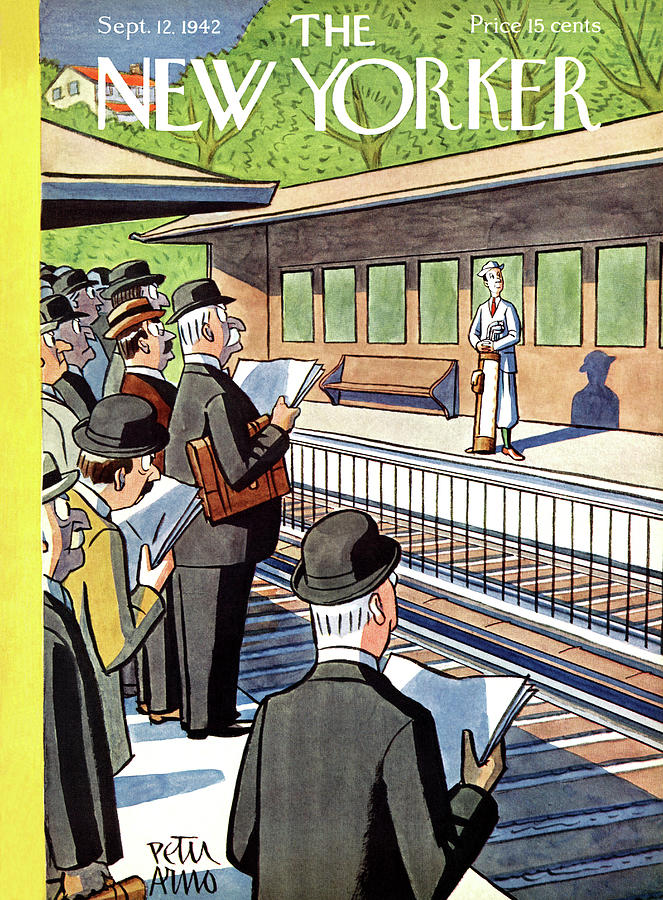 Train Painting - New Yorker September 12, 1942 by Peter Arno