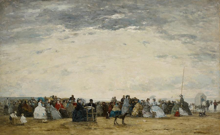 Beach Painting - Vacationers On The Beach At Trouville by Eugene Louis Boudin