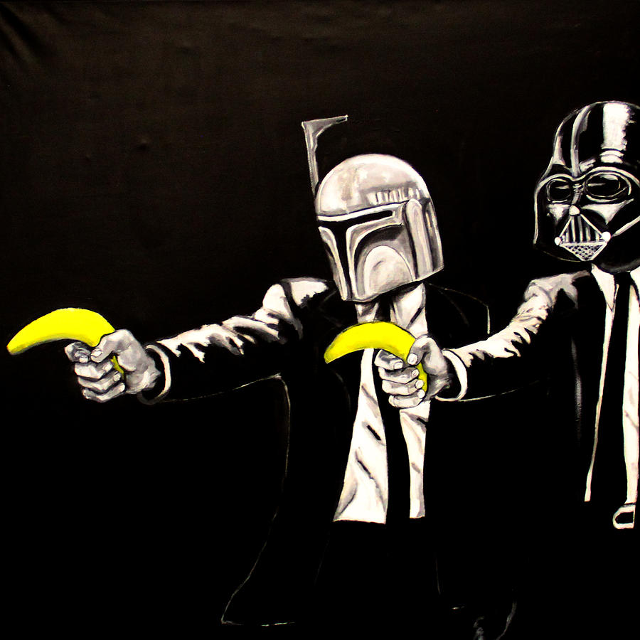 Vader Fett Pulp Fiction Banksy Painting by Austin Angelozzi