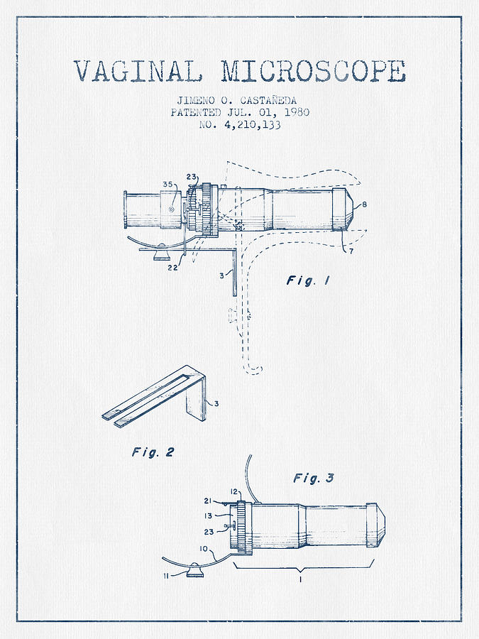 Microscope Digital Art - Vaginal Microscope Patent From 1980 - Blue Ink by Aged Pixel