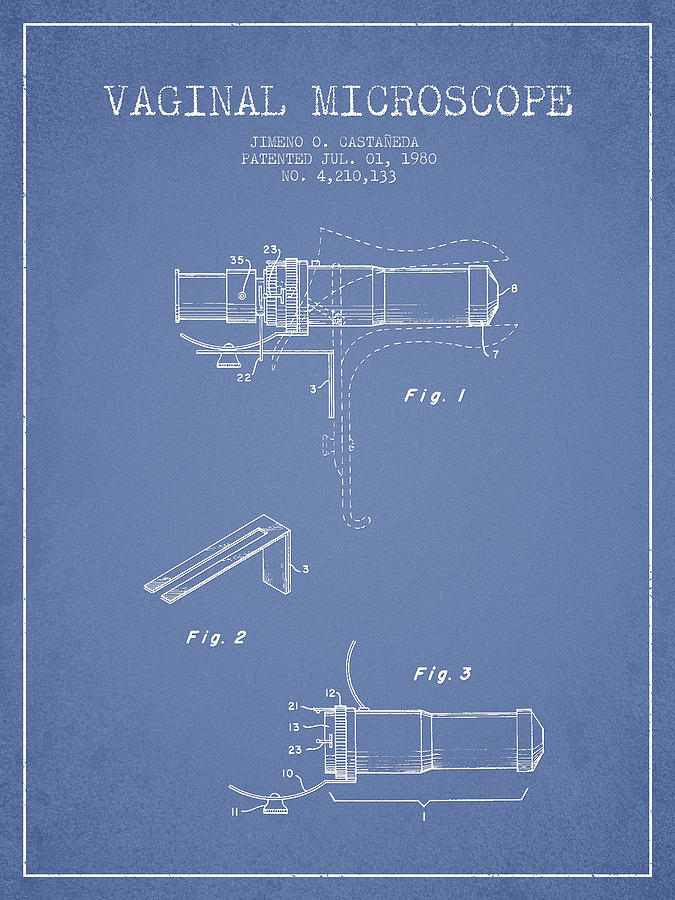 Microscope Digital Art - Vaginal Microscope Patent From 1980 - Light Blue by Aged Pixel
