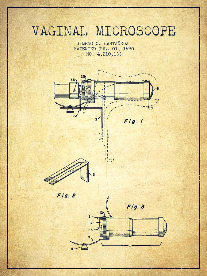 Microscope Digital Art - Vaginal Microscope Patent From 1980 - Vintage by Aged Pixel