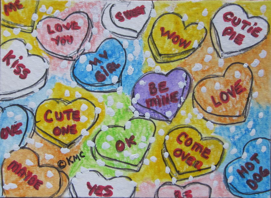 Valentine Painting - Valentine Candy Hearts by Kathy Marrs Chandler