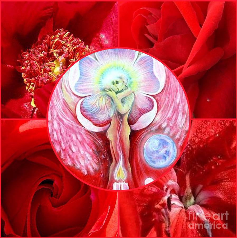 Valentine Card - Heartbeat Of The Twin Flame by Veronika Utyanskaya