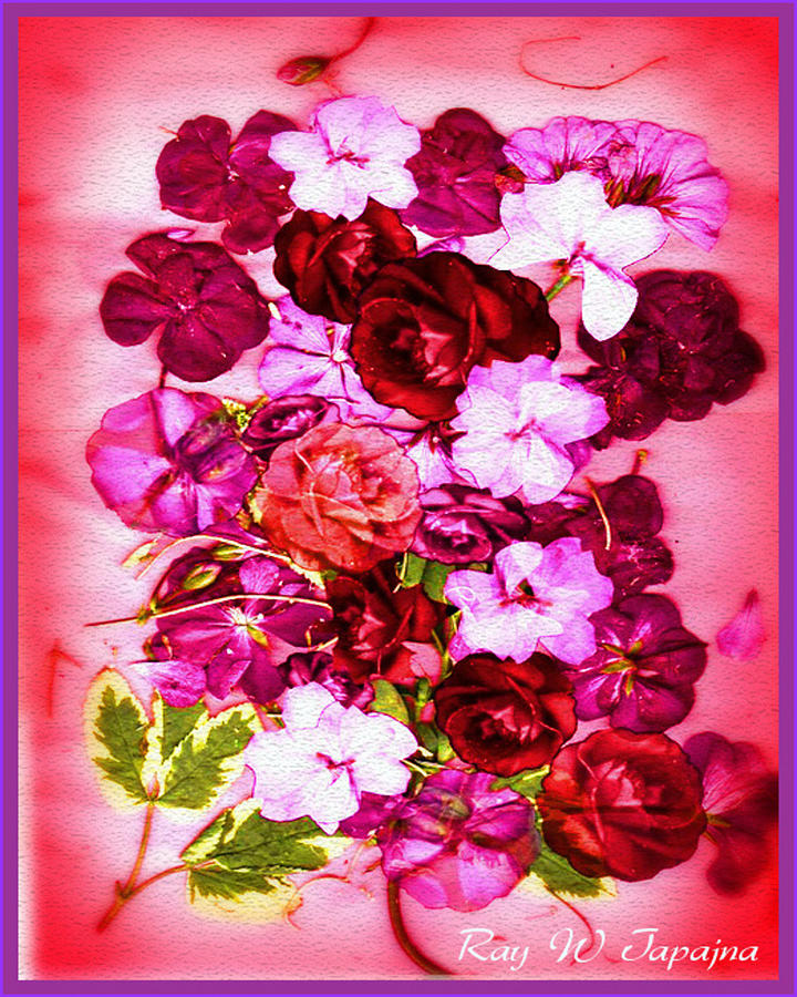Flowers Mixed Media - Valentine Flowers For You by Ray Tapajna