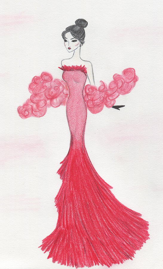 Fashion Illustration Drawing - Valentine Red   by Christine Corretti