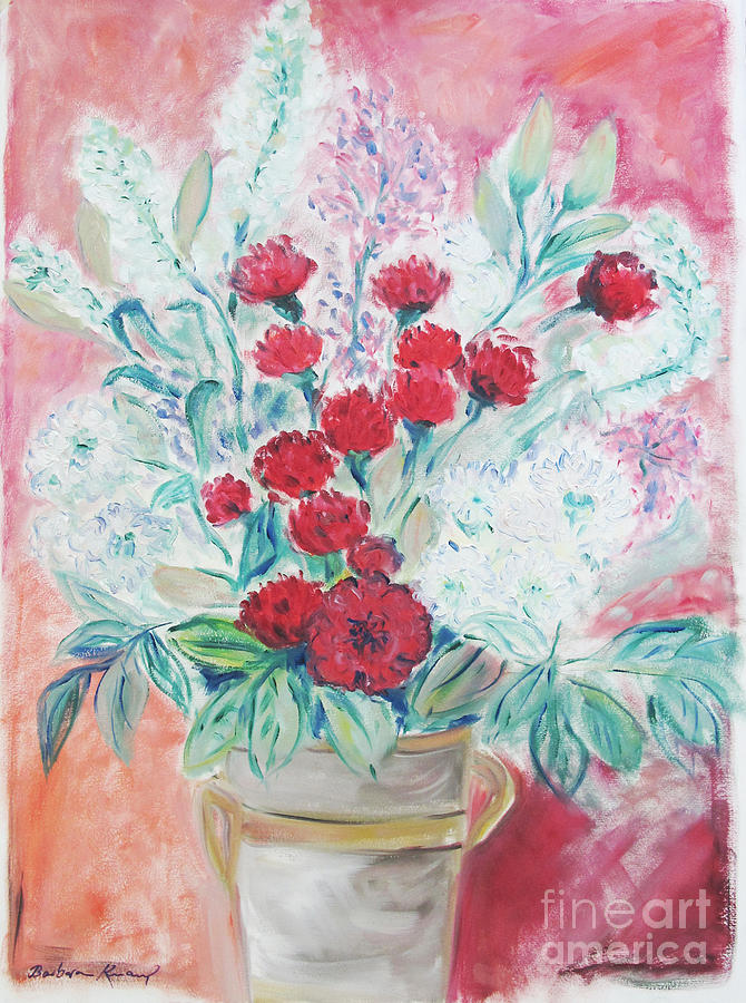 Still Life Painting - Valentines Day Flowers by Barbara Anna Knauf