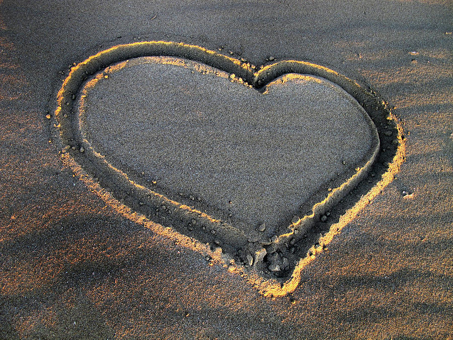 Valentine's Day Photograph - Valentines Day - Sand Heart by Daliana Pacuraru