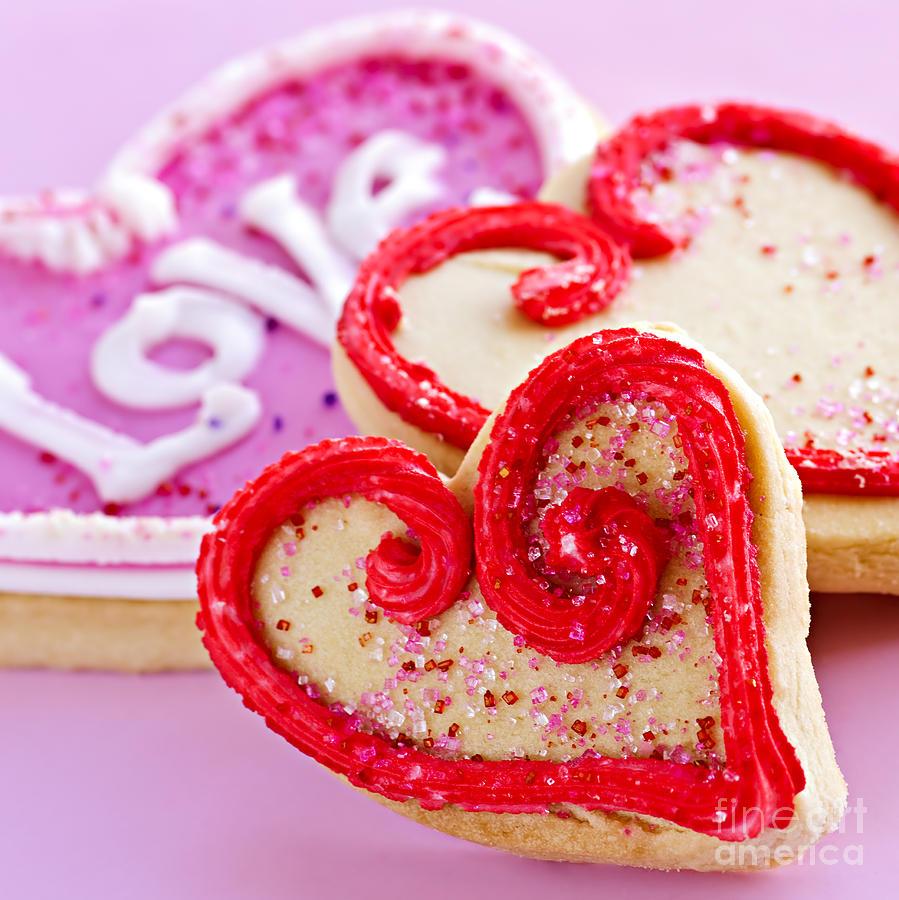 Cookies Photograph - Valentines Hearts by Elena Elisseeva