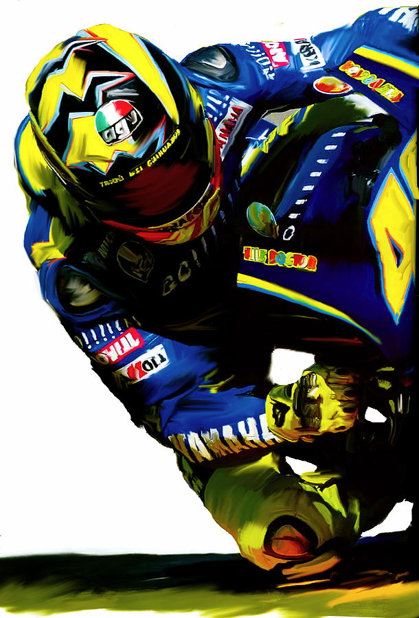 Valentino Rossi Corner Speed IIi Painting by Iconic Images Art Gallery David Pucciarelli