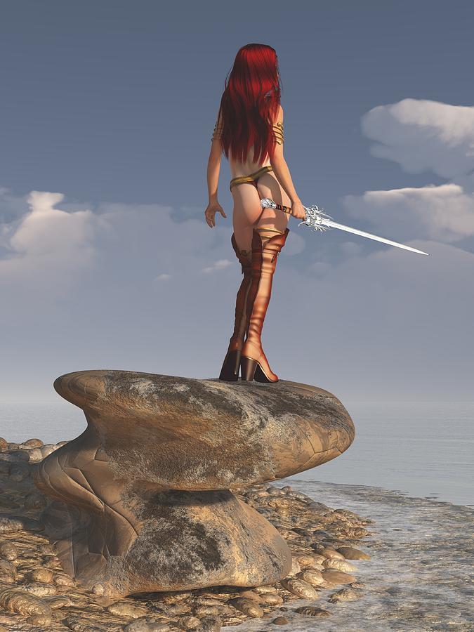 Warrior Girl Digital Art - Valkyrie On The Shore by Kaylee Mason