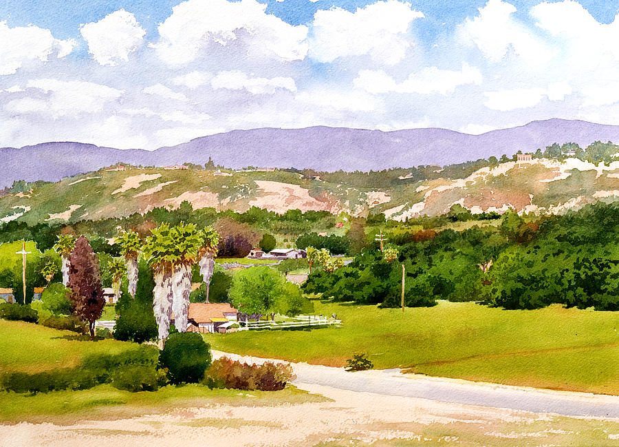 Landscape Painting - Valley Center California by Mary Helmreich
