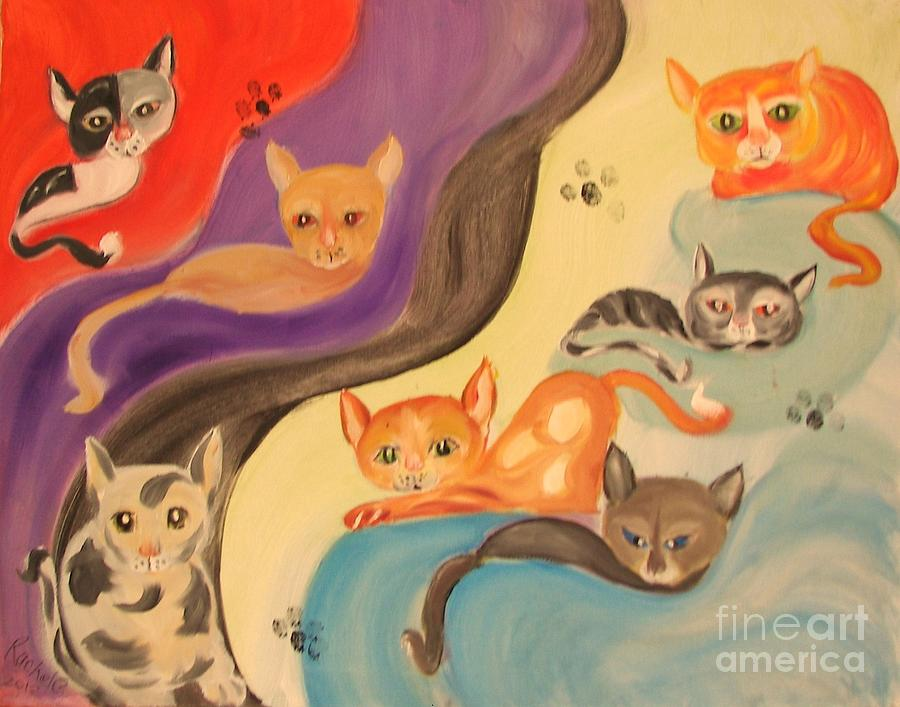 Cats Painting - Valley Of The Kittens by Rachel Carmichael