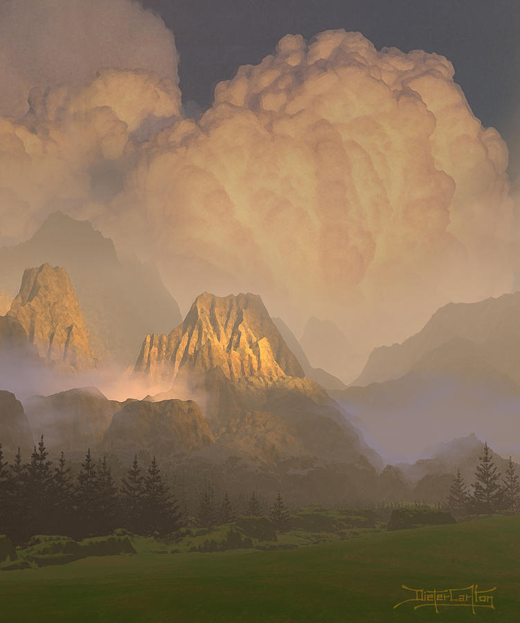 Cumulus Clouds Painting - Valley Of The Shadow Of Life by Dieter Carlton